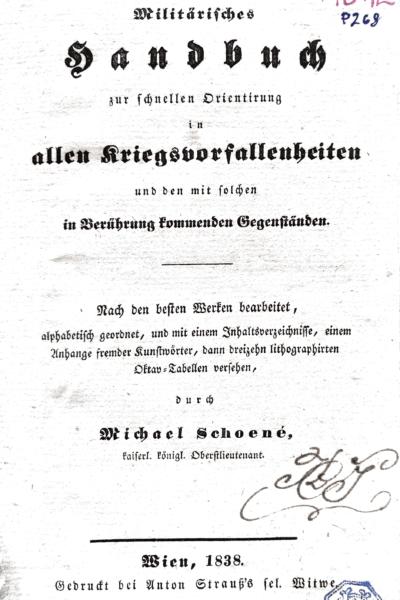 Schoené_1838 Handbuch-Kriegsvorfallenheiten