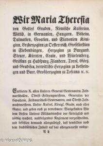 1769 Maria Theresia - Generalsreglement 2